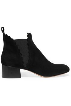 Chloe Suede Scalloped Ankle Boots $970