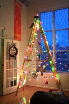 Ladder Christmas Tree is very fun and you can decorate it with your imagination. Although lots people love a traditional tree,they may also like Ladder Christmas Tree. You can save … Ladder Christmas Tree, Unusual Christmas Trees, Creative Christmas Trees, Alternative Christmas Tree, Noel Christmas, Christmas Crafts, Christmas Decorations, Redneck Christmas, Christmas Lights