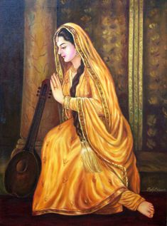 Indian Women Painting, Indian Art Paintings, Abstract Paintings, Oil Paintings, Krishna Painting, Krishna Art, Traditional Paintings, Traditional Art, Rajasthani Painting