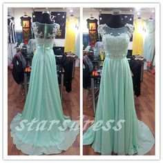 Real Beautiful Mint Lace Chiffon Long Bridesmaid Dresses Scoop Floor-length Full Back Cap Sleeve Prom Dresses with Beaded Evening Gown
