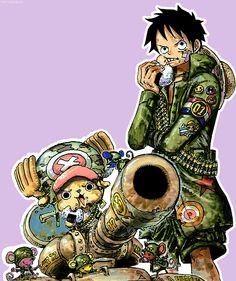 Luffy and Chopper- the most adorable soldiers in the Grand Line