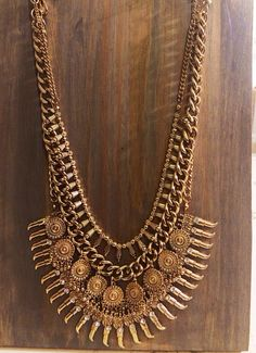 antique gold boho chic necklace by shop616couture on Etsy, $76.00
