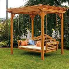 The pergola kits are the easiest and quickest way to build a garden pergola. There are lots of do it yourself pergola kits available to you so that anyone could easily put them together to construct a new structure at their backyard. Backyard Swings, Pergola Swing, Large Backyard, Backyard Pergola, Backyard Landscaping, Patio Decks, Backyard Ideas, Cedar Pergola, Wooden Pergola
