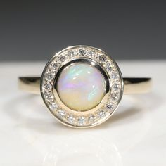 Natural Australian Solid Boulder Opal and Diamond Gold Ring Size 7.5 Code - RL44 10k Gold Ring, Gold Diamond Rings, Gold Rings, Gemstone Rings, Opal Color, Green Opal, Australian Opal, Opal Jewelry