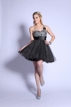 Homecoming Sweetheart Sequins Detail One Shoulder and Tulle Skirt Prom Dress