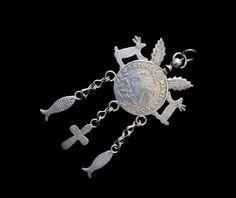 Antique Guatemalan Silver Chachal Pendant-Fabulous Details
