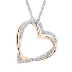 Two-Tone Diamond Heart Pendant - Item 19000470 | REEDS Jewelers