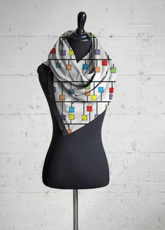 Abstract Squares Multi Wear Fashion Wrap
