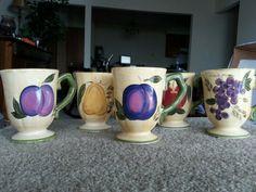 Gibson Everyday Designs Fruit Motif Mug Pedestal Cup Set Of 5 'Arabella' Pattern in Home & Garden, Kitchen, Dining & Bar, Dinnerware & Serving Dishes   eBay