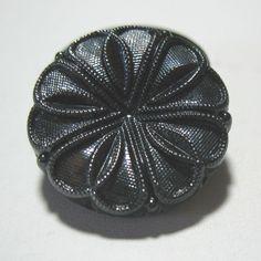 "ONE Vintage 1930s German Glass Jet Black Textured Flower 26mm/1"" Round Cabochon  #ArtDeco"