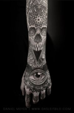 All seeing eye hand tattoo by Daniel Meyer via LEITBILD  Los Angeles booking requests: dasleitbild.com/contact