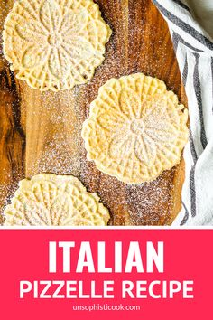 Easy Classic Pizzelle Recipe For Italian Waffle Cookies -- These light and crispy vanilla pizzelle cookies are a Christmas Eve tradition in our home! Includes tips for how to make pizzelles + variatio Italian Cookie Recipes, Italian Cookies, Italian Desserts, Easy Cookie Recipes, Waffle Recipes, Diabetic Recipes, Casserole Recipes, Easy Recipes, Italian Christmas Cookies
