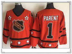 1972-81 NHL All-Star #1 Bernie Parent Orange CCM Throwback Stitched Vintage Hockey Jersey