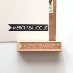 Merci Beaucoup, Thank You Rubber Stamp in French, Original Typographic Design (Wood Mounted)
