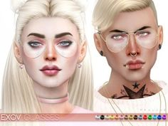 Aviator glasses in 15 colors, all genders. Found in TSR Category 'Sims 4 Female… – Brille Make-up Sims 4 Cc Skin, Sims 4 Mm Cc, Clear Aviator Glasses, Sims 4 Cc Makeup, Sims4 Clothes, Best Sims, Sims 4 Cc Packs, Sims 4 Cas, Sims 4 Cc Finds