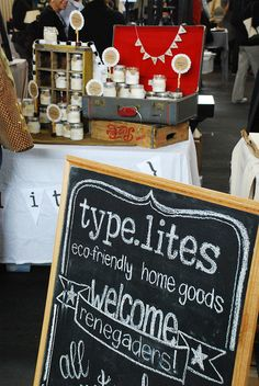 I think this is even better than the fancy printed vinyl booth signs.  Make your own chalkboard sign!   # Craft Fair sign
