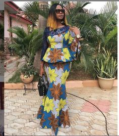 2019 African Fashion Ankara Skirt and Blouse Styles for Wedding African Fashion Ankara, Latest African Fashion Dresses, African Print Fashion, Ankara Long Gown Styles, Trendy Ankara Styles, Ankara Skirt And Blouse, Ankara Dress, African Attire, African Wear