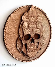 This wonderful woodwork skull is a collaboration piece between Joan Tarrago & BIG SECRET . It consists of 5 laser-etched and laser-cut la. Laser Art, 3d Laser, Laser Cut Wood, Laser Cutting, Laser Cutter Ideas, Laser Cutter Projects, Cnc Projects, Engraving Art, Laser Engraving
