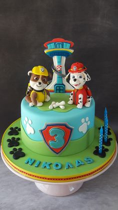 Paw patrol cake with Rubble and Marshal. Paw patrol cake with Rubble and Marshal. Paw Patrol Birthday Cake, 4th Birthday Cakes, Paw Patrol Party, 2nd Birthday, Birthday Ideas, Birthday Cards, Happy Birthday, Rubble Paw Patrol Cake, Torta Paw Patrol