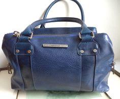 Matt & Nat Vegan Bag Art Deco Blue Double Barrel RARE Speedy Large Faux Leather Eco Train Handbag Womens Vintage Mod Tote Satchel Purse by MushkaVintage3 on Etsy
