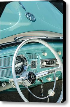 1962 Volkswagen Vw Beetle Cabriolet Steering Wheel Stretched Canvas Print / Canvas Art By Jill Reger
