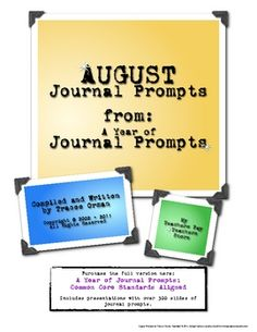 FREE! August Journal Prompts Writing Exercises