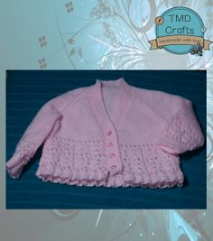 Hand Knitted Baby Girl's Cardigan - 0-3m but can make in other sizes