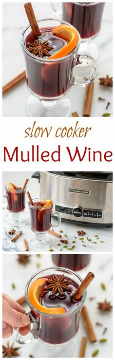 Slow cooker spiced wine (mulled wine) is an easy holiday cocktail recipe, made with red wine, apple cider, citrus, and warm spices. The delicious warm drink is perfect for holiday parties. #cocktails #Christmas #recipe via @wellplated