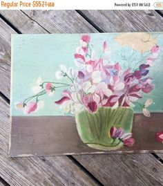 Original Floral Painting Vintage Artboard Old Oil Painting unsigned Art Work pink flowers unframed by StudioVintage on Etsy