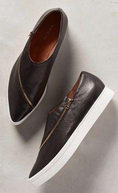 All Black Slanted Zip Sneakers #anthropologie