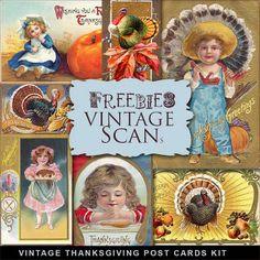 Tarjetas de Acción de Gracias Freebies Vintage Kit