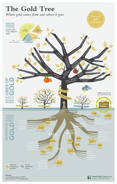 The Gold Tree Infographic visualizes uses and sources of gold and pictures the various forms of gold investments.