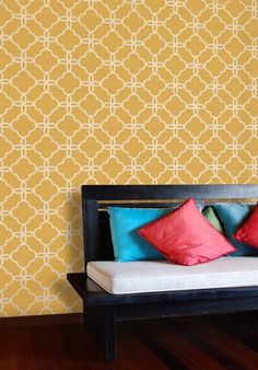 """DIY Moroccan """"Tile"""" Stencils. In love with this image and the way they do them on the stairs."""