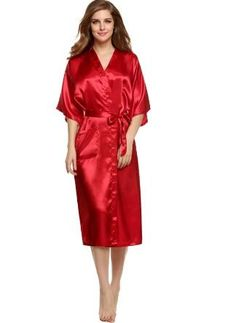 Plus Size S-XXL 2016 Rayon Longue Bathrobe Womens Kimono Satin Long Robe  Sexy Lingerie Hot Nightgown Sleepwear with Belt 2429c355c
