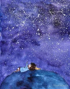 'Marshmallow Summer Dream' Photographic Print by MankaKasha Art And Illustration, Watercolor Illustration, Watercolor Paintings, Little Girl Illustrations, Stock Design, Summer Dream, Art Plastique, Stargazing, Cute Drawings