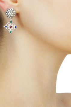 Silver finish seed pearls and encrusted multi color stone drop earrings available only at Pernia's Pop Up Shop.