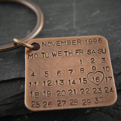 Bronze Key Chain Date Tag Calendar charm. Solid bronze gift, 8th and 19th wedding anniversary. Bronze anniversary gift for him. Pure bronze.