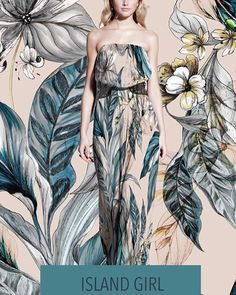'Island Girl Tropicals kick off our swim collection' #prints #beach #tropical #dress #swim #maxidress #drawing #colour #palmtrees #orchid #season #painting #art #margate #broadstairs #studio