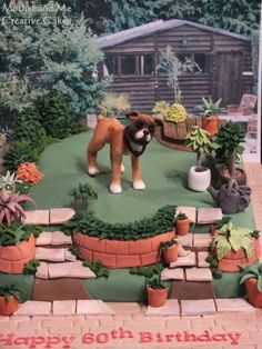 Boxer Dog in Garden Cake
