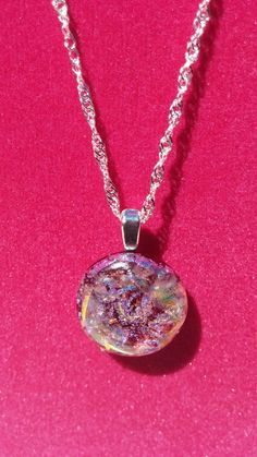 Magical Magenta Opal Dichroic Sterling Silver Necklace by DICHROICCLASSYGLASS on Etsy