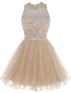 Bbonlinedress Short Tulle Beading Homecoming Dress Prom Gown Champagne -- Be sure to check out this awesome product-affiliate link. Dama Dresses, Quince Dresses, 15 Dresses, Quinceanera Dresses, Evening Dresses, Prom Gowns, Dress Outfits, Ball Gowns, Gowns 2017