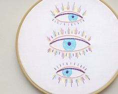 Embroidery kit PDF Colorful hand embroidery patterns eyes