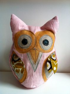 Large Linen Owl  Pink by TreefallDesign on Etsy, $29.00