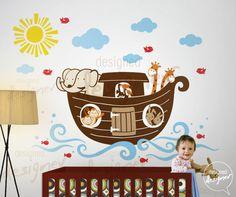 Noah's Ark Wall Decal Sticker for kid's room/nursery Noahs Ark Nursery, Noahs Ark Theme, Themed Nursery, Diy Crafts For Tweens, Fun Diy Crafts, Dinosaur Wall Decals, Kids Wall Decals, Wall Stickers, Arche Noah Kindergarten