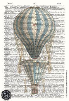 Machine volante impression Art ballon dictionnaire par ClassicWalls