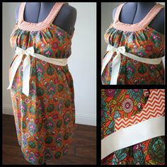 Maternity Hospital Gown- Orange Floral, Chevron Neckline (labor and delivery gown) via Etsy...interesting idea...