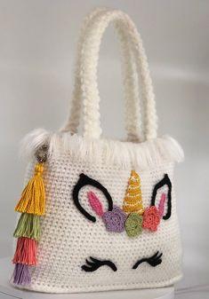 Unicorn handbag crochet pattern pdf english usa etsy fashion crochet crafts to sell handmade handmade chunky knit blanket visit wagonclick shop cool stuff Crochet Baby Poncho, Easy Crochet Blanket, Crochet Diy, Crochet Crafts, Crochet Projects, Crochet Case, Crochet Mermaid, Crochet Unicorn, Crochet Handbags