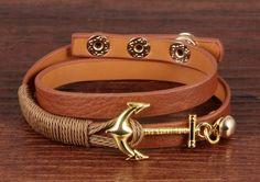 Leather Wrap Anchor Bracelet