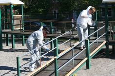 Our President, Adam Oldfield, and our Executive Assitant, Raven, painting the playground Our President, Life Savers, Raven, Playground, Park, Painting, Children Playground, Crow, Life Preserver