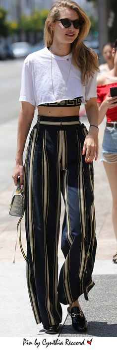 Gigi Hadid During a shopping spree in Beverly Hills, Gigi Hadid was seen in striped pants by Tanya Taylor | cynthia reccord